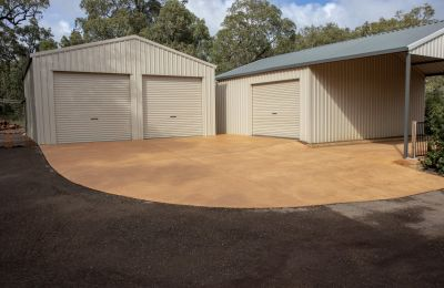 Coloured Concrete Shed Hardstand