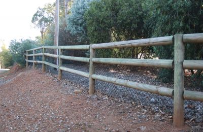 Rual Fence 3 Rail with Black Mesh